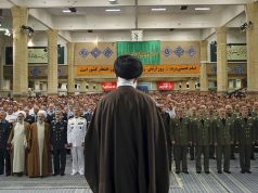 Supreme Leader of Iran Ali Khamenei addresses the Iranian Army members as part of the National Army Day, in Tehran, Iran, on April 19, 2017. Anadolou