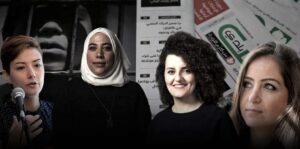 Milia Eidmouni Khouloud Helmi Rula Asad and Zaina Erhaim. Behind copies of Enab Baladi a leading newspaper started and mostly run by Syrian women.