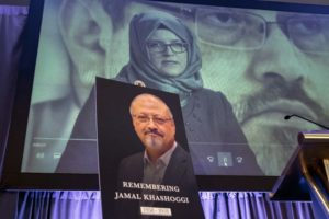A video image of Hatice Cengiz fiancee of slain Saudi journalist Jamal Khashoggi is played during an event to remember Khashoggi in Washington DC Oct. 1 2019 AP PhotoJ. Scott Applewhite File