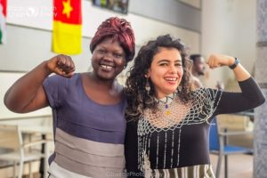 Aya Chebbi during a meeting with a young Sudanese