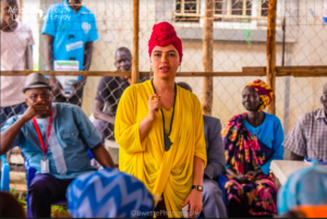 Aya Chebbi in the IDP camp in South Sudan where she listened to elders mothers and fathers and young people
