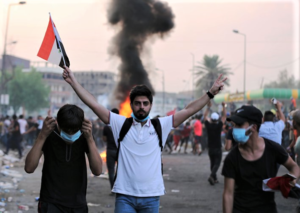 Protesters in Baghdad Oct 2 2019 Image courtesy Xinhua News Agency PA images Copy