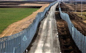 The Hungary Serbia border fortified by a 2nd fence near Gara Hungary