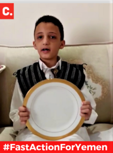 Nine year old Hamza Hakim Almasmari in his YouTube Video FastActionForYemen