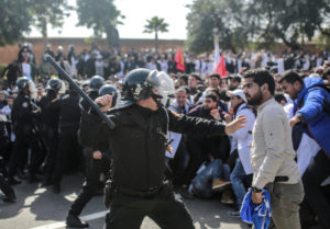 Security forces charge at protesting teachers in Rabat Morocco Feb. 20 2019 AP Photo Mosaab Elshamy