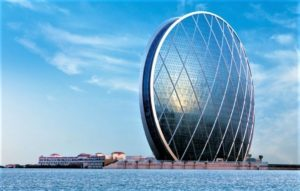 The Aldar Headquarters building in Abu Dhabi UAE home to the UAEs controversial DarkMatter cyber security company