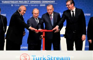 Turkeys President Erdogan 2nd right and Russias President Putin 2nd left with Serbias President Vucic right and Bulgariass Prime Minister Borisov left inaugurate Turkstream. Istanbul