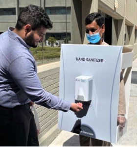 A foreign worker at the Saudi oil company Aramco walking around as a hand sanitizer Photo courtesy Twitter
