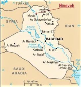 Map of the location of Nineveh Iraq