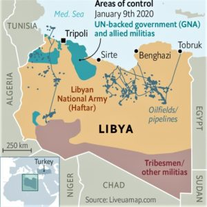 A map of Libyas areas of conflict