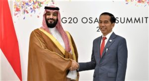 Saudi Crown Prince Mohammed Bin Salman and Indonesian President Joko Widodo at the G 20 summit in Osaka Japan June 29 2019. AP Photo Susan Walsh