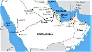 Map of the railway project which extends at 2117 kilometers and passes through 6 Gulf countries from Kuwait to Oman