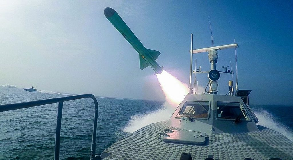 The Revolutionary Guard of Iran launches a missile during a military exercise in the Strait of Hormuz July 28 2020. Sepahnews via AP