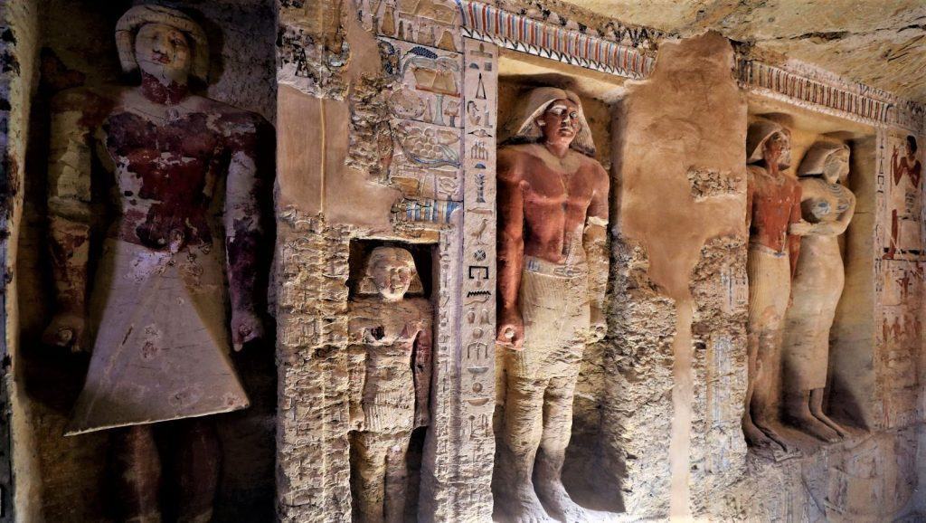 One of the discovered tombs at the Saqqara archaeological site 19 miles south of Cairo Egypt