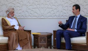 Syrian President Bashar Assad right meets with Omans Foreign Minister Yusuf bin Alawi left in Damascus Syria July 7 2019 SANA via AP