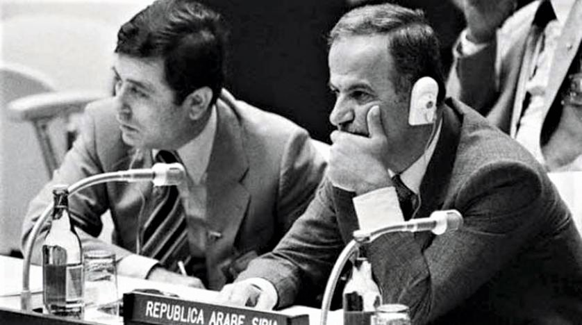 An archive photo of the late President Hafez al Assad and his deputy Abdel Halim Khaddam at a conference Asharq Al Awsat